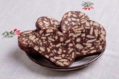 De salami van het chocoladekoekje royalty-vrije stock foto