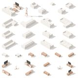 De salon poly ensemble isométrique d'icône bas Photographie stock libre de droits
