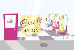 De salon van de schoonheid met drie dames Stock Afbeeldingen