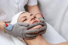 De salonreeks van de schoonheid. gezichts massage Royalty-vrije Stock Foto's