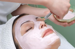 De salonreeks van de schoonheid, gezichtsmasker Royalty-vrije Stock Afbeeldingen