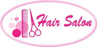 De salonuithangbord van het haar met schaar en kam Stock Afbeelding