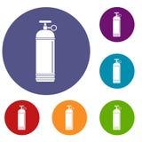 De samengeperste geplaatste pictogrammen van de gascontainer Royalty-vrije Stock Fotografie