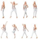 De samengestelde foto van vrouw in divers stelt Stock Fotografie