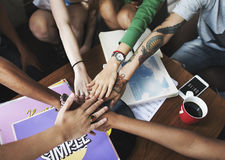 De Samenhorigheid van de mensenvriendschap assembleert Team Unity Concept Stock Afbeelding