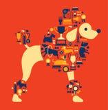 De samenstelling met hond toont silhouetten Royalty-vrije Stock Foto's