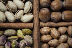 De samenstelling met noten, de hazelnoten en de pistaches sluiten omhoog Royalty-vrije Stock Afbeelding