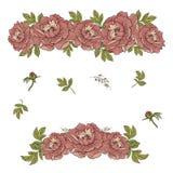 De samenstelling van de bloem Slinger van pioenen Geïsoleerde stock illustratie