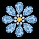 De samenstelling van de bloemhalfedelsteen Royalty-vrije Stock Afbeelding