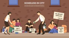 De Samenstelling van de dakloze Mensenstad stock illustratie