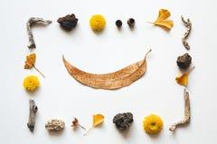 De samenstelling van de herfst De vaas met droog doorbladert, appel en kaarsen bij het ontslaan Royalty-vrije Stock Foto