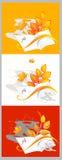 De samenstelling van de herfst van notitieboekjes en bladeren Royalty-vrije Stock Afbeelding
