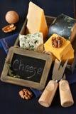 De samenstelling van de kaas. Stock Foto