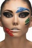 De samenstelling van de manier met gezichtsart. Royalty-vrije Stock Foto