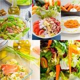 De samenstelling van de saladecollage op kader wordt genesteld dat Royalty-vrije Stock Fotografie