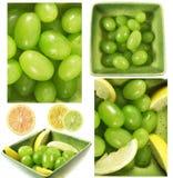 De samenstelling van druiven en van citroenen royalty-vrije stock afbeelding