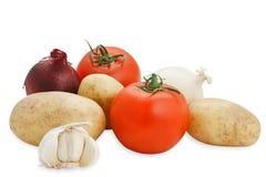De samenstelling van groenten (met het knippen van weg) Royalty-vrije Stock Foto's