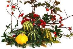 De samenstelling van de herfst De vaas met droog doorbladert, appel en kaarsen bij het ontslaan De samenstelling bestaat uit een  royalty-vrije stock afbeelding