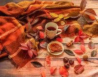 De samenstelling van de herfst De vaas met droog doorbladert, appel en kaarsen bij het ontslaan Dalingsbladeren, kop thee en een  stock afbeelding