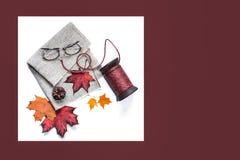 De samenstelling van de herfst De vaas met droog doorbladert, appel en kaarsen bij het ontslaan stock afbeeldingen