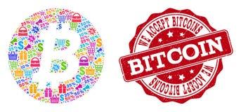 De Samenstelling van het Bitcoinmuntstuk van Mozaïek en Gekraste Zegel voor Verkoop stock illustratie