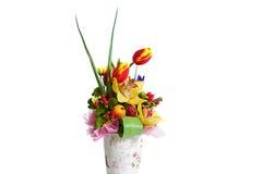 De samenstelling van het bloemboeket voor de vakantie, de lenteboeket van FL Royalty-vrije Stock Afbeelding