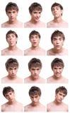 De samenstelling van het gezichtsuitdrukkingen van de mens die op wit wordt geïsoleerdi Stock Fotografie