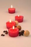 De samenstelling van het kuuroord bemerkte kaarsen, Stock Foto