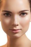 De samenstelling van het kuuroord, wellness. Model zuiver gezicht, schone huid Stock Foto's