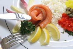 De samenstelling van het ontbijt met zalm Royalty-vrije Stock Foto