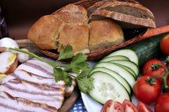De samenstelling van het voedsel in landstijl Stock Fotografie