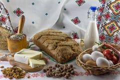 De samenstelling van het voedsel in landstijl royalty-vrije stock afbeelding
