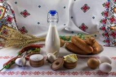 De samenstelling van het voedsel in landstijl Stock Foto