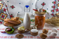 De samenstelling van het voedsel in landstijl Royalty-vrije Stock Foto's