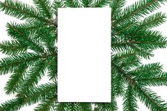De samenstelling van Kerstmis Document spatie, de takken van de Kerstmisboom, gol stock fotografie