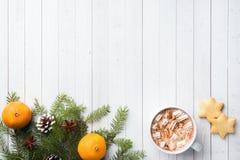 De samenstelling van Kerstmis Hete chocoladekoekjes, pijnboomtakken, pijpjes kaneel, anijsplantsterren Kerstmis, de winterconcept stock fotografie