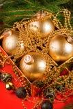 De samenstelling van Kerstmis met de decoratie van Kerstmis? Royalty-vrije Stock Foto