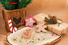De samenstelling van Kerstmis met koekjes Royalty-vrije Stock Foto