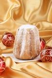 De samenstelling van Kerstmis met Pandoro Stock Foto's