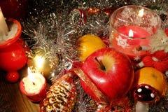 De samenstelling van Kerstmis De typische punten van de Kerstmisdecoratie stock afbeelding