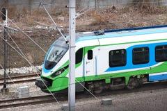 De samenstelling van de moderne trein op het platform van het Lviv-station Infrastructuur snel vervoer High-tech royalty-vrije stock foto's