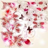 De samenstelling van orchideeën royalty-vrije illustratie