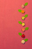 De samenstelling van suikerrozen Royalty-vrije Stock Afbeeldingen
