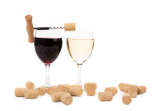 De samenstelling van twee wijnglazen Stock Foto's