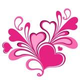 De samenstelling van valentijnskaarten van de harten. Stock Foto's