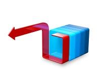 De samenvatting bended rode pijl met blauwe vorm op wit Stock Foto