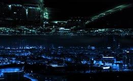 De samenvatting illuminted het moderne concept van de nachtstad royalty-vrije stock afbeelding