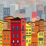 De samenvatting kleurde stadsmening in overzichten met vele huizen en gebouwen als één enkel stuk Royalty-vrije Stock Afbeelding