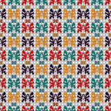 De samenvatting kleurde voorwerpen op een geometrische achtergrond in retro patroon van het stijl Naadloze vectorbehang Stock Foto's