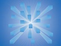 De samenvatting rekte kubussen in de blauwe ruimte uit Stock Foto's